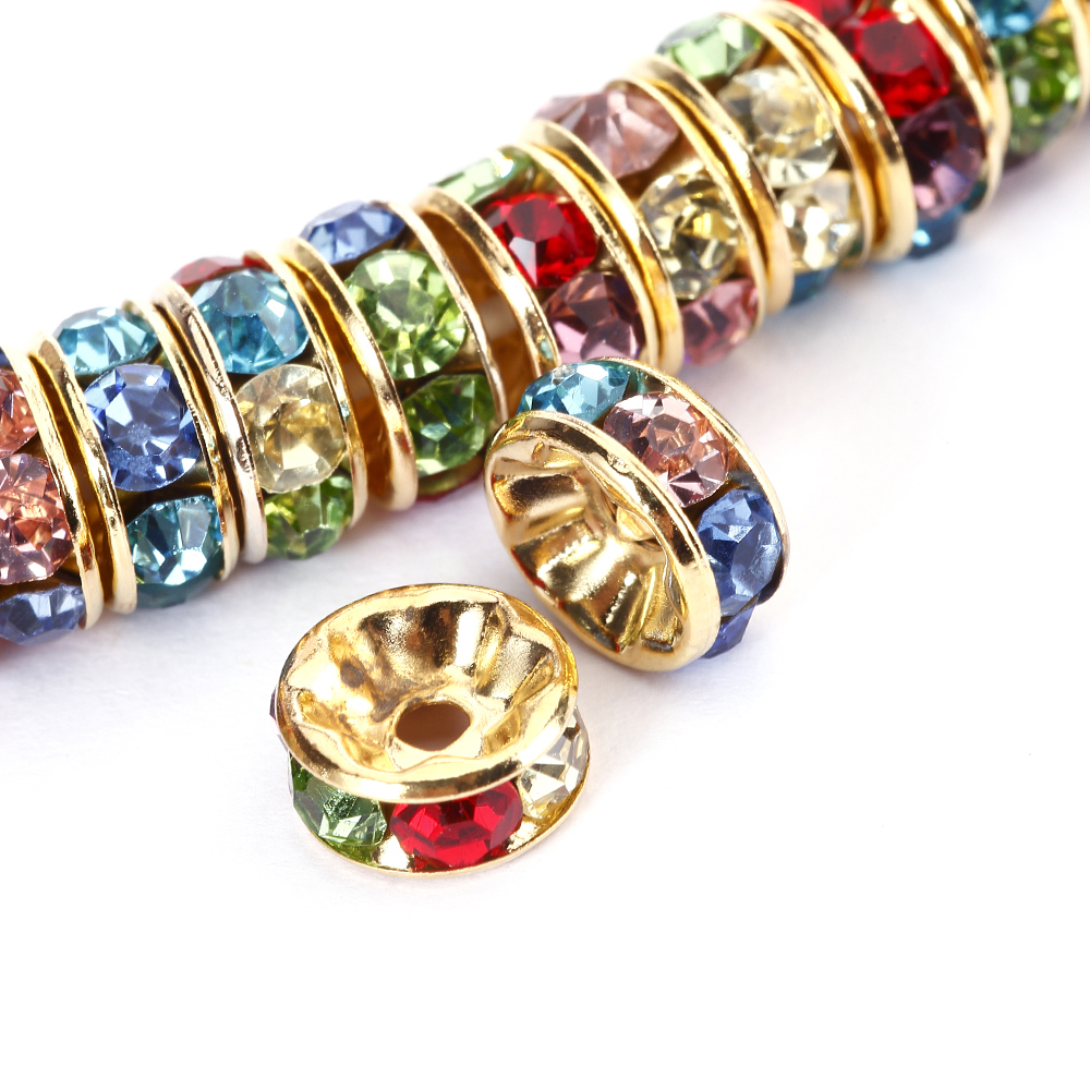 BRCbeads 8mm Gold Plated Crystal Rondelle 100pcs Spacer Beads for jewelery making Multicolor)