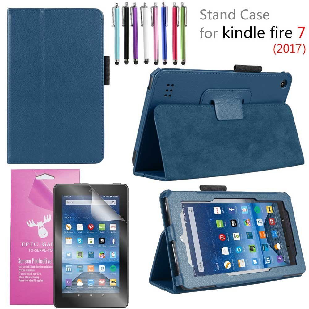 "Amazon Fire 7"" 2017 Case, EpicGadget(TM) 7th Generation Fire 7 Premium PU Leather Folding Folio Case with Built in Stand For Fire 7 inch (2017 Release) + 1 Screen Protector and 1 Stylus (Navy Blue)"