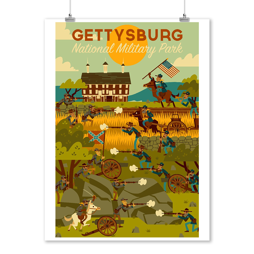 Gettysburg, Pennsylvania - National Military Park - Civil War - Geometric - Lantern Press Artwork (9x12 Art Print, Wall Decor Travel Poster)
