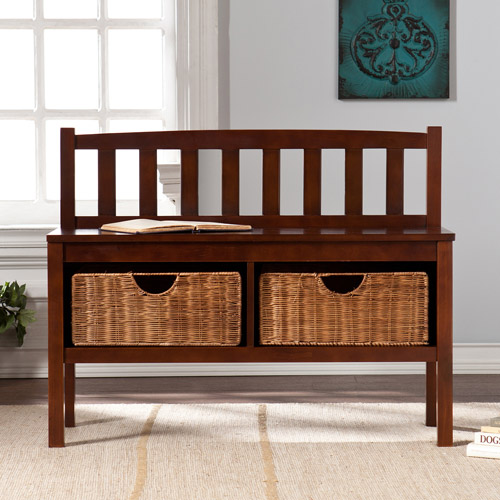 Lincoln Bench with Storage Baskets, Espresso