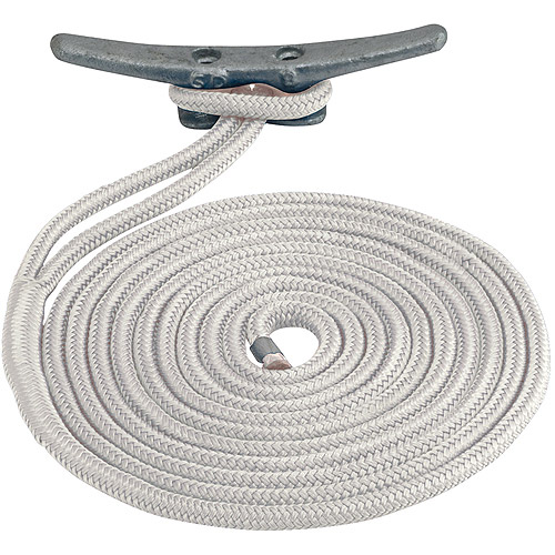 "Sea Dog Dock Line, Double Braided Nylon, 3 8"" x 15', White by Sea Dog"
