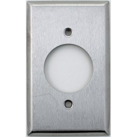 "Classic Accents Brushed Satin Stainless Steel Single 1 Gang Wall Plate - 20 Amp Locking Outlet (1 5/8"" Opening)"