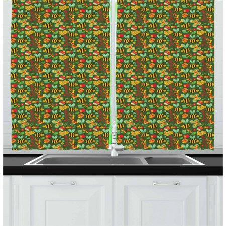 Bee Curtains 2 Panels Set, Doodle of Summer Composition with Honeycomb Bees Caterpillars Butterflies and Flowers, Window Drapes for Living Room Bedroom, 55W X 39L Inches, Multicolor, by Ambesonne