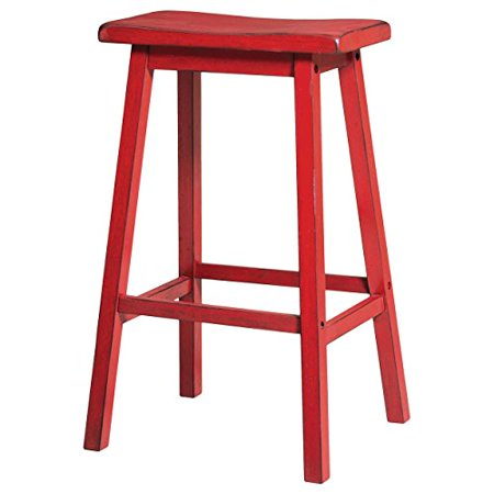 Modhaus Living Contemporary Style 29 Inch Bar Height Saddle Seat Stools Red Finish