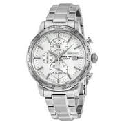 Seiko Men's World Time GMT Chronograph Silver Dial Watch SPL047