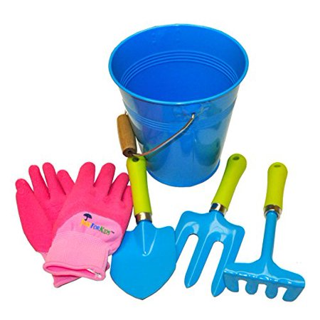 G & F 10051 JustForKids Kids Water Pail with Garden Tools Set and Gloves, Blue