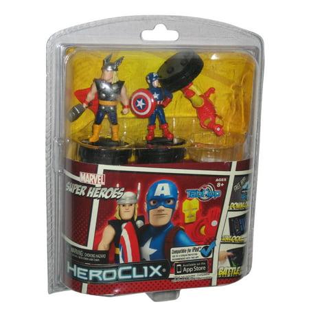Marvel Super Heroes HeroClix TabApp Figure Set - (Thor / Iron Man / Captain