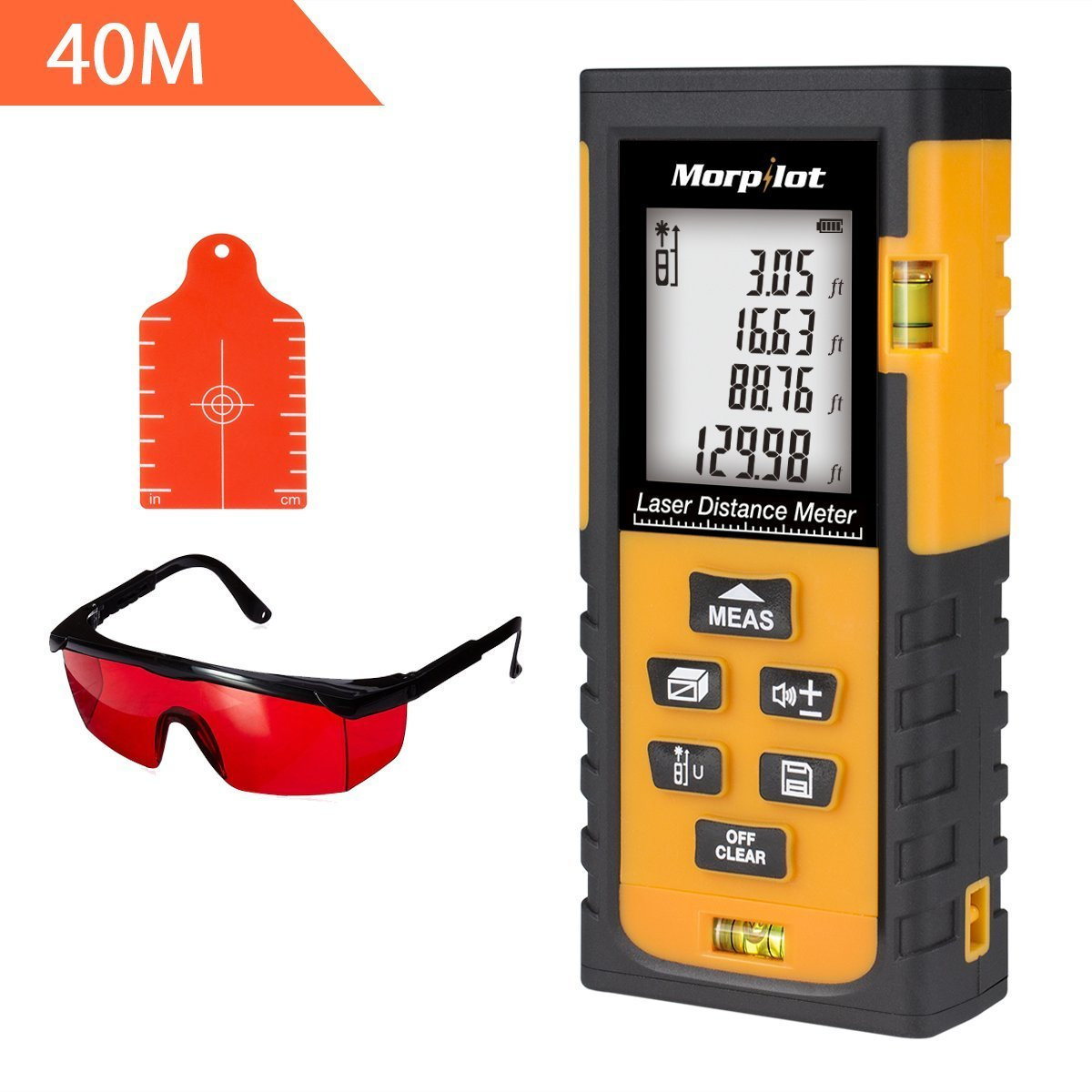 131ft Laser Distance Measurer - Morpilot Laser Tape Measure with Target Plate & Enhancing Glasses, Laser Measuring Tool with Pythagorean Mode, Measure Distance, Area, Volume Calculation