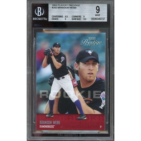 2003 Playoff Prestige  202 Brandon Webb Diamondbacks Rookie Bgs 9  9 5 9 9 9 5