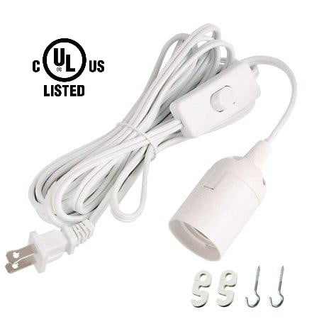 Simple Deluxe HILAMPCORDL Extension Hanging Lantern Cord Cable 15 FT with E26/E27 Socket & On/ Off Switch,UL Listed - Vintage Pendant Lighting Bulb Lamp in Kitchen,Bedroom,Bathroom,White (Larchmont 4 Light Pendant)