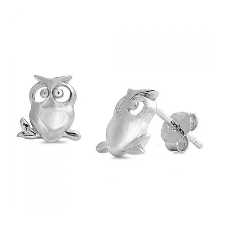 925 Sterling Silver Owl Stud Earrings