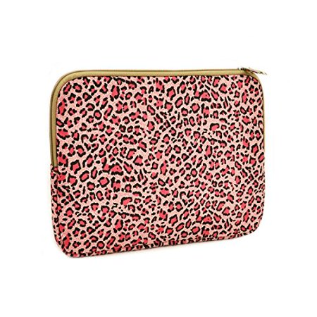 Unik Case Pink Leopard Design Canvas Fabric Zipper Laptop Sleeve Bag Case Cover for All 13