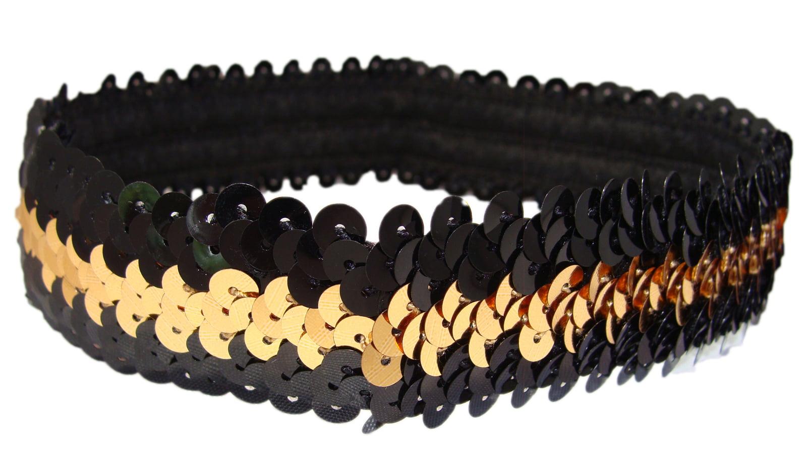 Kenz Laurenz - Kenz Laurenz Sequin Headband Girls Headbands Sparkly Hair  Head Bands Black Gold - Walmart.com 5a1fe19c437