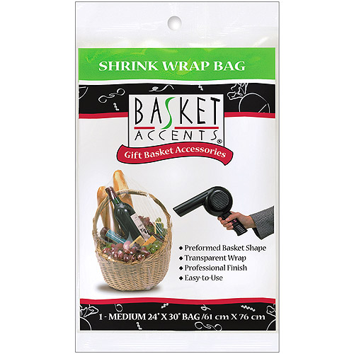Basket Accents Medium Clear Shrink Wrap Bag, 1-Pack
