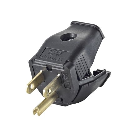 3W101-E 2-Pole 3-Wire Grounding Plug, Black, Hinged design provides fast, easy assembly By Leviton