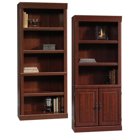 - Bookcase Set, Sauder Heritage Hill 5 Shelf Library Bookcase - Sauder Heritage Hill Library With Doors, Classic Cherry Finish