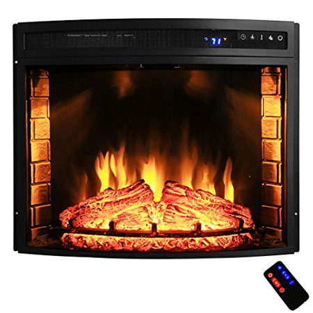 AKDY 28 Black Electric Firebox Fireplace Heater Insert Curve Glass Panel W Remote Azfl