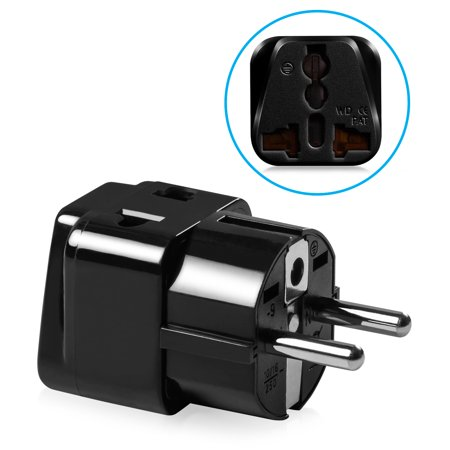 International Plug Adapter, Fosmon Universal to Type E/F Schuko Europe, Germany, France, Russia & More Travel Wall Power Converter Adapter, CE Certified Compact Electrical Outlet - Black