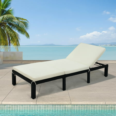 JUMPER 1PCS Patio Chaise Lounge Chair Outdoor Adjustable Folding Lounge Recliner Chairs PE Rattan Wicker Chair Sunbed Tanning Lounge Chair with 6 Adjustable Positions for Patio, Poolside, Beige