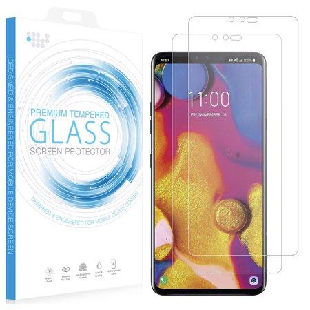 Aluminum Case Saver (LG V40 ThinQ Tempered Glass, 2X Nakedcellphone 9H Hard Clear Screen Protector Guard [Crack Saver] for LG V40 Phone ( V405QA7, LM-V405UA, V405TAB) - Case)
