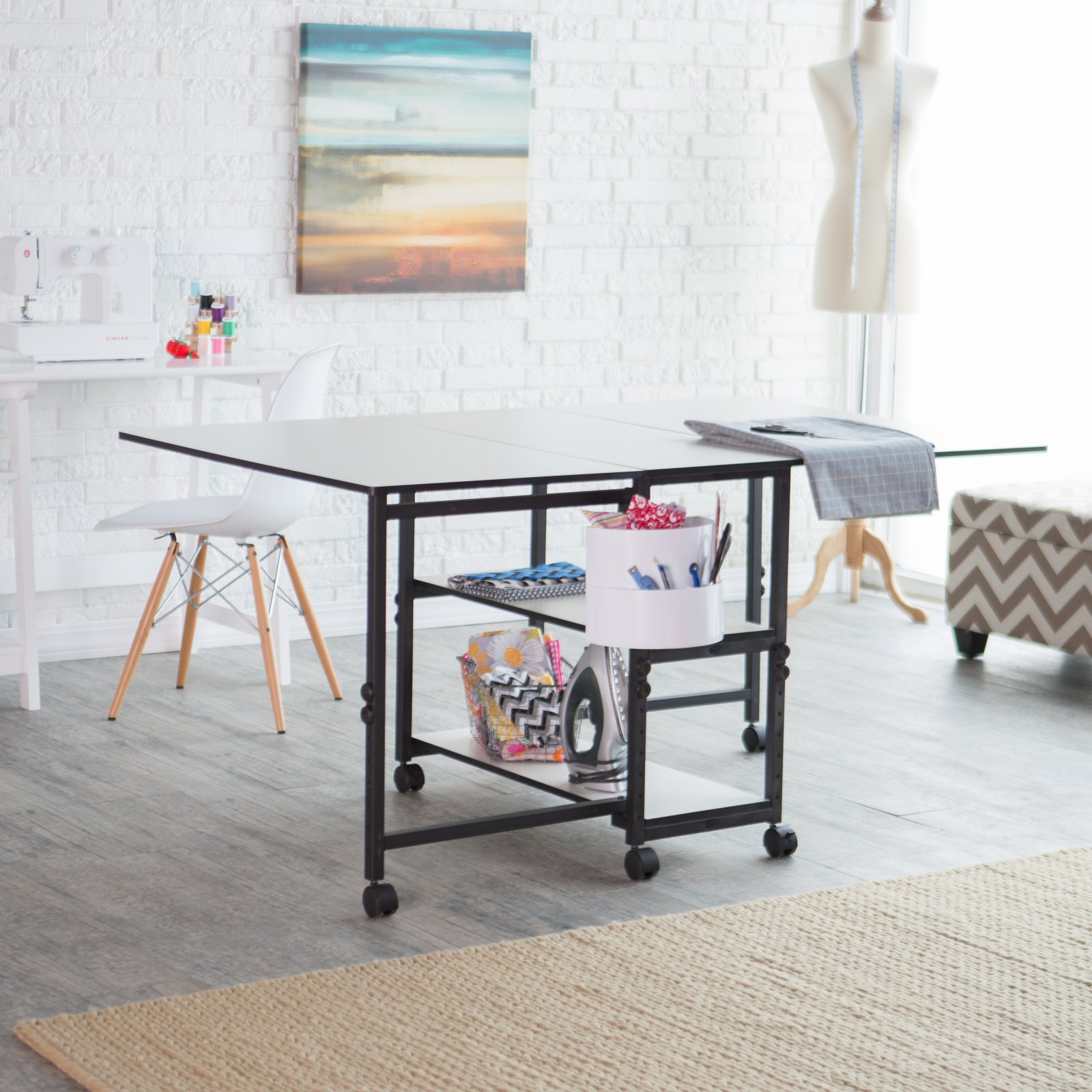 Sullivans USA Home Hobby Adjustable Height Foldable Table