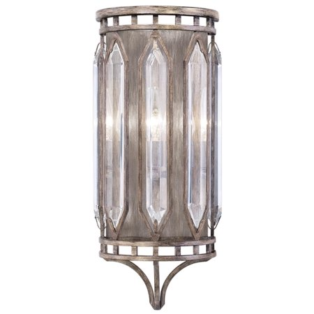 Sconce 3-Light Weathered English Brown Patina Double-Faced Beveled Cryst (Weathered Patina 3 Light)