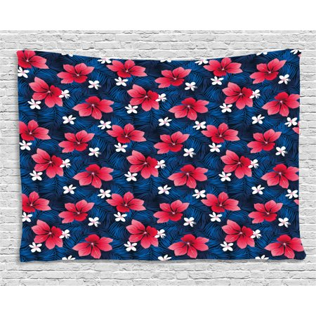 Navy and Blush Tapestry, Exotic Flora Pattern with Hibiscus and Plumeria Blossoms Hawaiian, Wall Hanging for Bedroom Living Room Dorm Decor, 60W X 40L Inches, Navy Blue Dark Coral, by Ambesonne