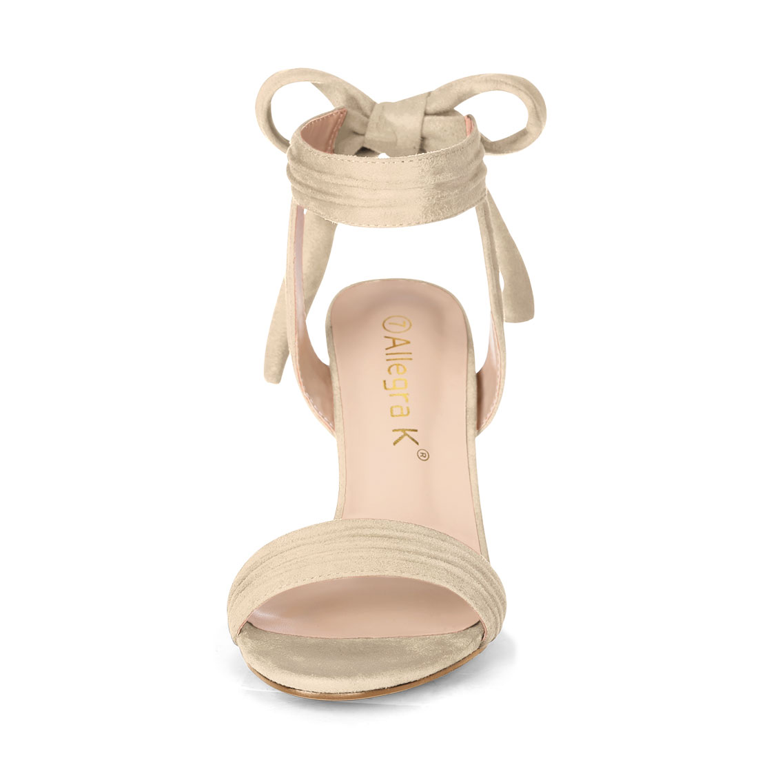 Unique Bargains Women's Ankle Tie Open Toe Block Heel Sandals Beige (Size 9.5) - image 2 of 7