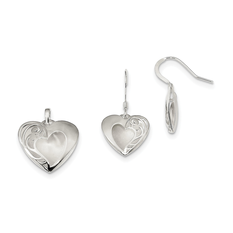 925 Sterling Silver Drop Dangle Chandelier Earrings Pendant Charm Necklace Set Love Fine Jewelry Gifts For Women For Her - image 4 de 4