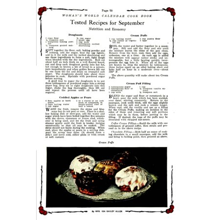 Womans World Calendar Cook Book 1922 Cream Puffs Canvas Art     24 X 36