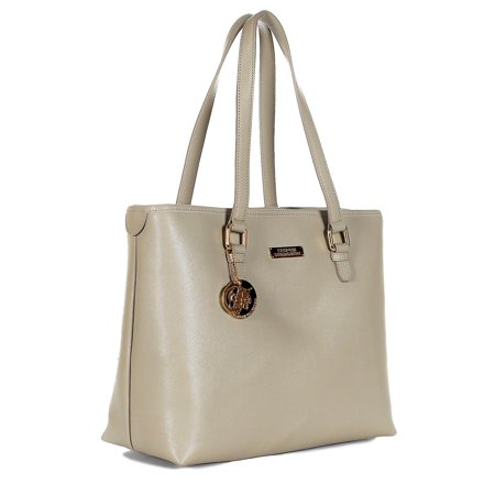 fa7e15f6d7ff Versace - Versace Collection Women s Saffiano Leather Shopper Tote Bag  LBFS375 LVSS Sand - Walmart.com