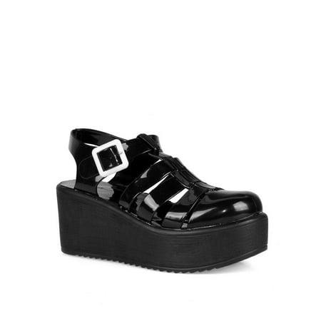 Nature Breeze caged Jelly Platform Women's Sandals in Black Black Suede Platform Sandals