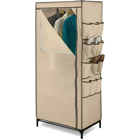 Honey Can Do 27 Storage Closet With Shoe Organizer Khaki Brown Trim