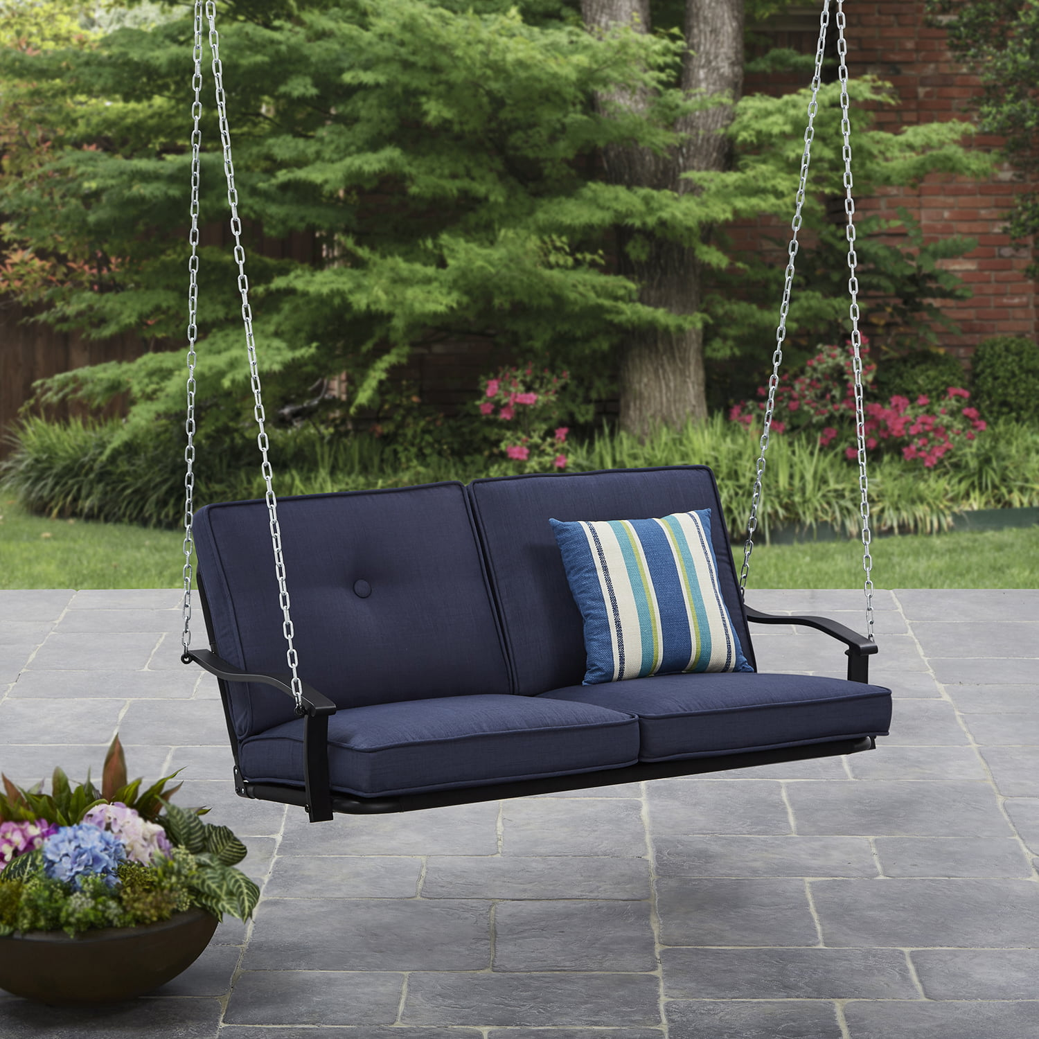 Mainstays Belden Park Outdoor Porch Swing With Cushion Seats 2