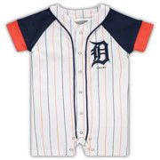 Detroit Tigers Newborn & Infant Little Slugger Striped Romper - White/Navy