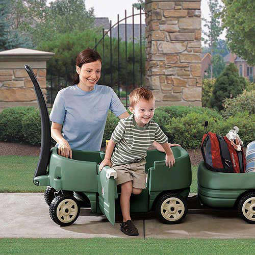 Step2 Wagon for Two Plus Long handle facilitates pulling, and folds under wagon for transport and storage, Willow Green