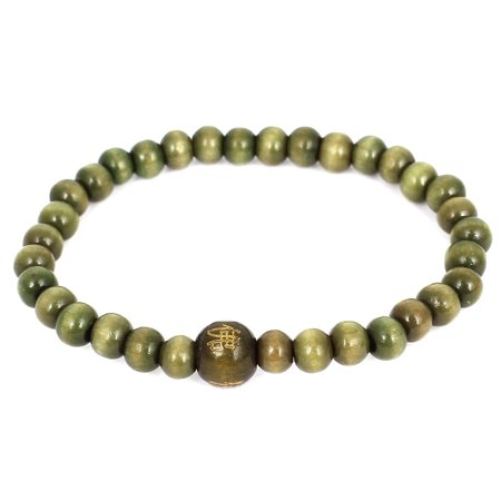 - Unisex Plastic Round Buddha Beads Elastic Wrist Prayer Bracelet Olive Green
