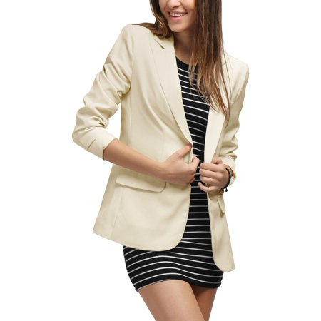 Buttoned Blazer - Women Peaked Lapel One Button Closure Boyfriend Blazer