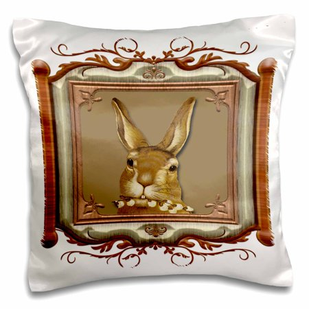 3dRose Cute Bunny Holding a Pussy Willow Branch in a Wooden Look Frame - Pillow Case, 16 by 16-inch ()