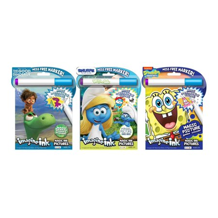 Bundle of 3 Imagine Ink Magic Pictures Activity Books - The Good Dinosaur, Smurfs The Lost Village, and SpongeBob SquarePants - Spongebob Coloring Pages Halloween
