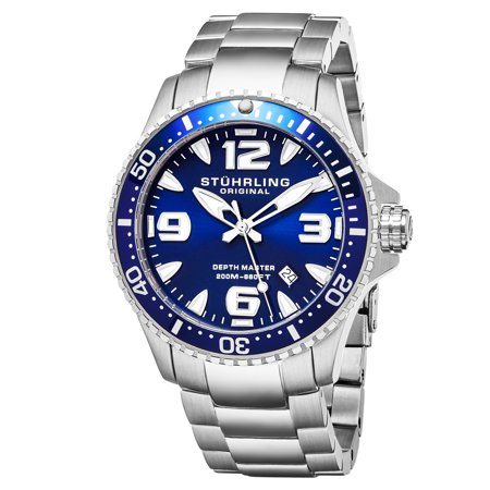842.01 Men's Swiss Quartz Diver Watch, Stainless Steel Case, Blue Dial 120 Click Unidirectional Rotating Bezel, Solid Stainless Steel Bracelet