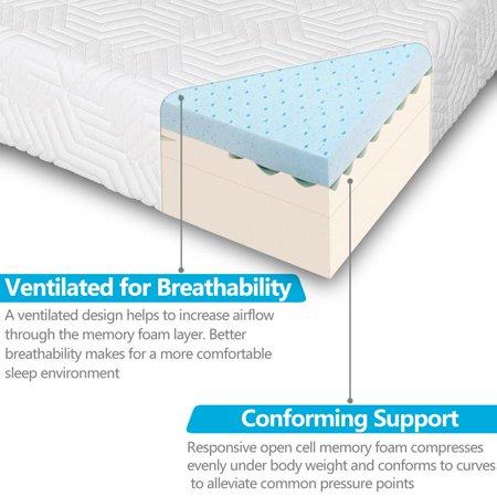 Ktaxon 12 Quot Memory Foam Queen Mattress With 2 Pillows Three Layers High Softness White Walmart