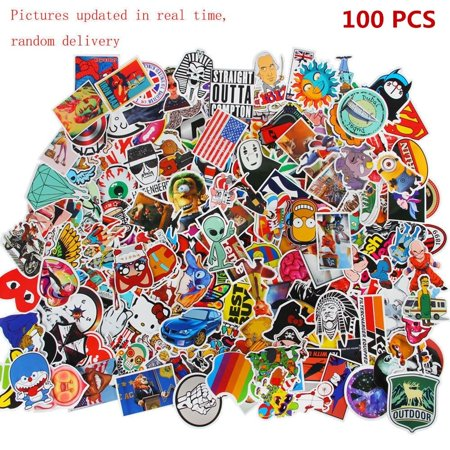 100 PCS Random Vinyl Decal Graffiti Sticker Bomb Waterproof Cool Stickers For Laptop Luggage Motorcycle Bicycle