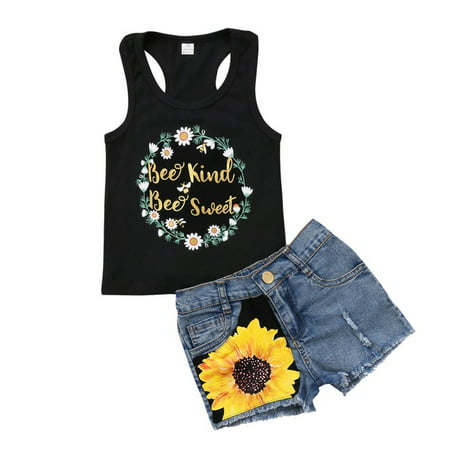 Kids Baby Girl Clothes Outfits Floral T-shirt Tops +Denim Jeans Pants Shorts Set