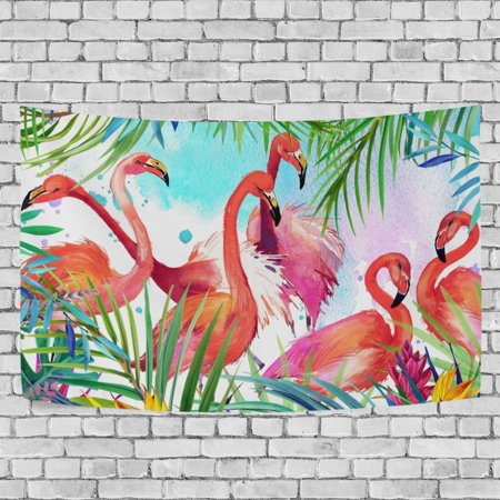 MYPOP Tropical Leaf Flamingo Tapestry Wall Decor Living Room Dorm Tapestries DIY 60 x 51 inches