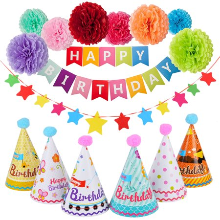 Outgeek Birthday Party Decoration Supplies Set Includes Happy Birthday Banner Paper Pom Pom Paper Cap & Star Banner - Happy Halloween Printable Decorations