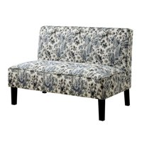 Furniture of America Newcomb Paisely Upholstered Settee in Blue