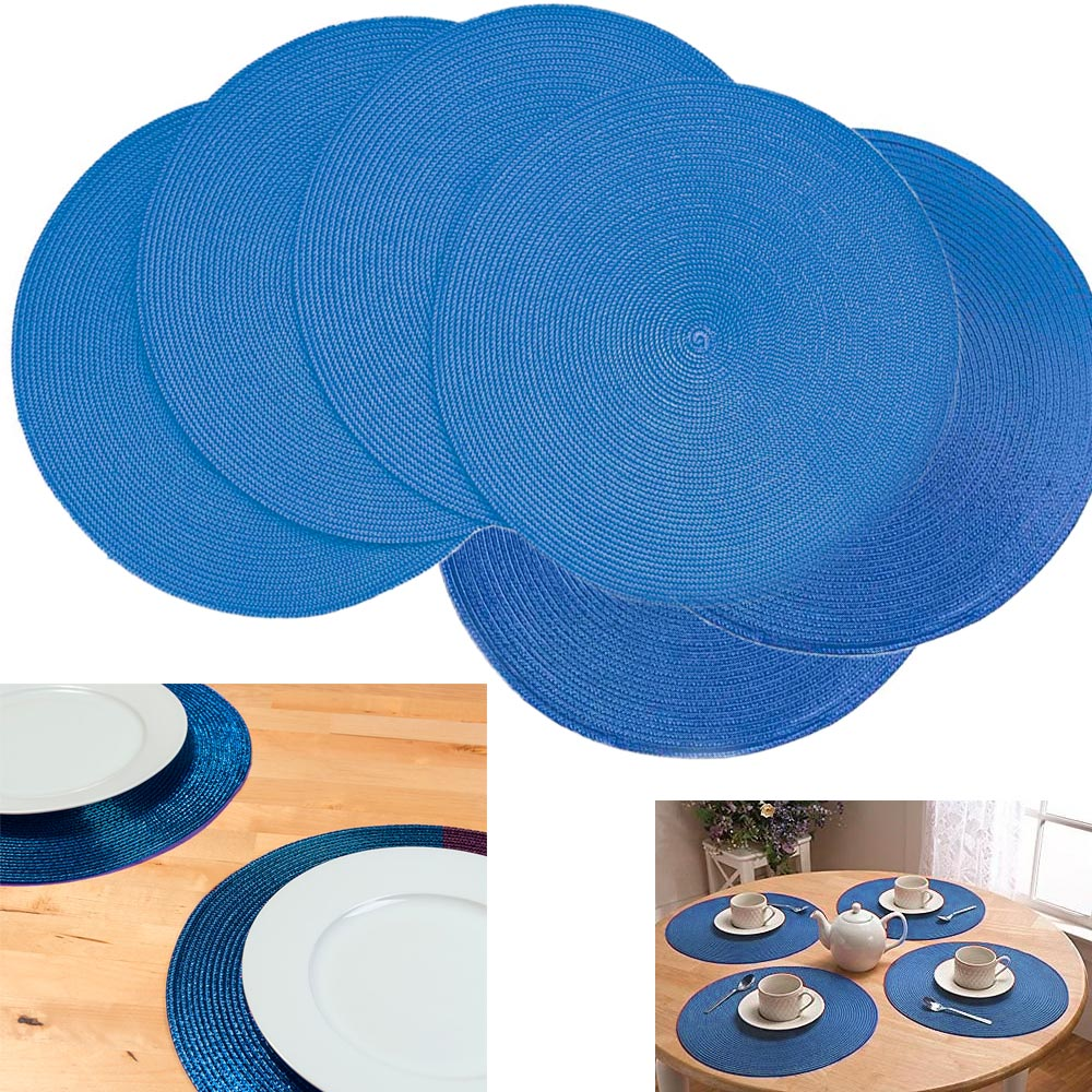 6 Pc Round Woven Placemat Kitchen Home Decor Table Protection Spiral Mat New !