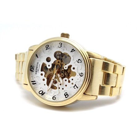 Golden Self-Winding Geneva Automatic Watch Premier Skeleton Dial Authentic - Gold Plated Geneva Series