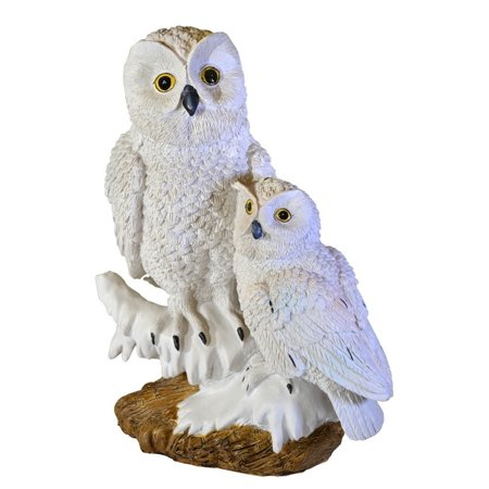 Pair Statue (Moonrays Snowy Owl Pair Garden Statue with Solar Powered White LED)